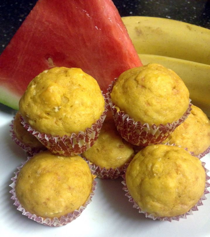 Banana Watermelon Mini Muffins